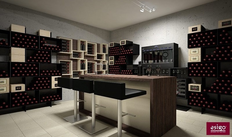 gallery am nagement cave vin esigo. Black Bedroom Furniture Sets. Home Design Ideas