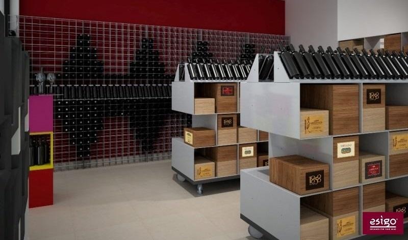 Agencement magasin vin œnothèque Esigo pour le rangement bouteilles ...